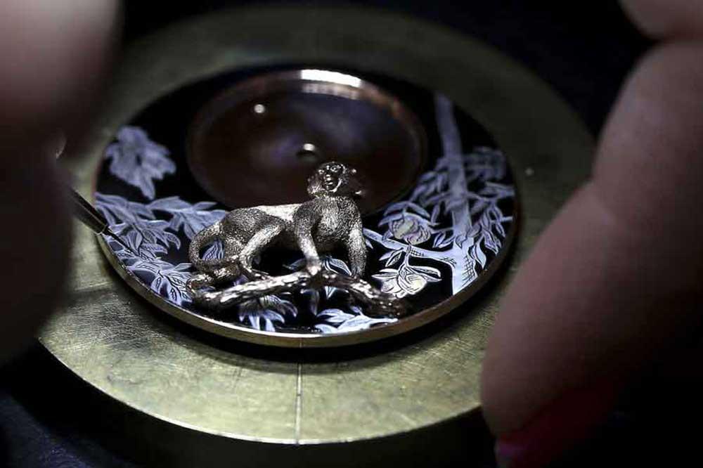 Jaquet Droz Petite Heure Minute Monkey, detalle esfera