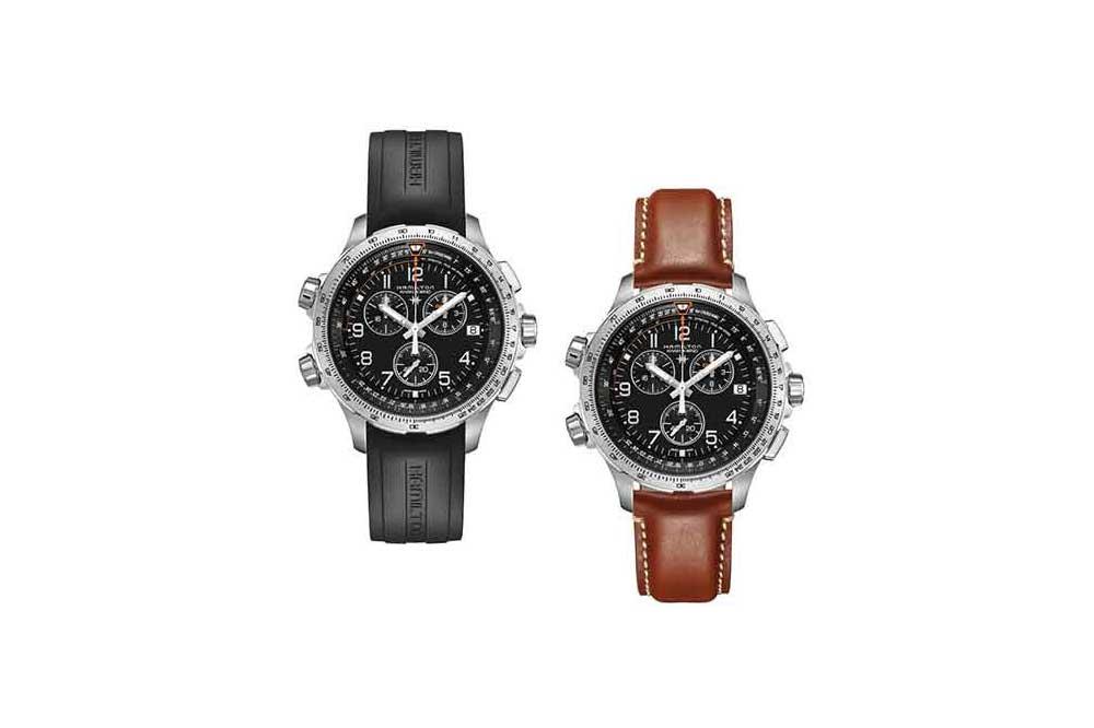 Hamilton Khaki X-Wind Chronoquartz GMT en negro y en piel