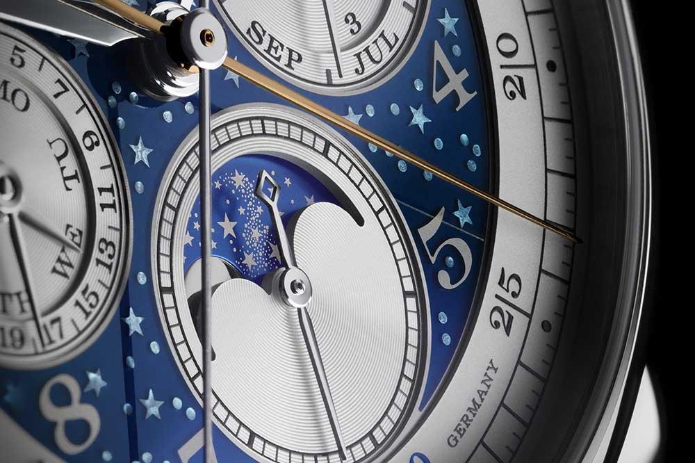 A. Lange & Söhne 1815 Ratrapante Calendario Perpetuo Handwerkskunst, detalle esfera
