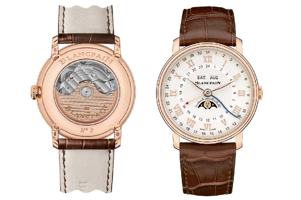 Blancpain Villeret Quantième Complet GMT, oro rojo y correa aligátor marrón