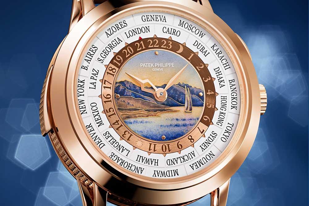 Patek Philippe World Time Minute Repeater Ref. 5531R, detalle esfera