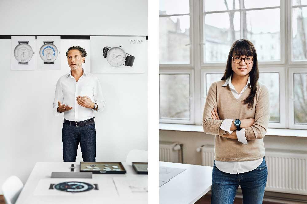 Diseñadores del NOMOS Glashütte Autobahn Neomatik 41 fecha: Werner Aisslinger y Tina Bunyaprasit