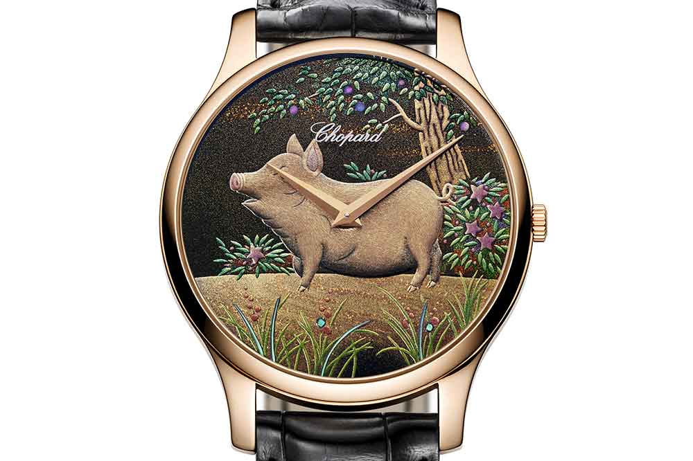 Chopard L.U.C XP Urushi Year of the Pig, detalle esfera