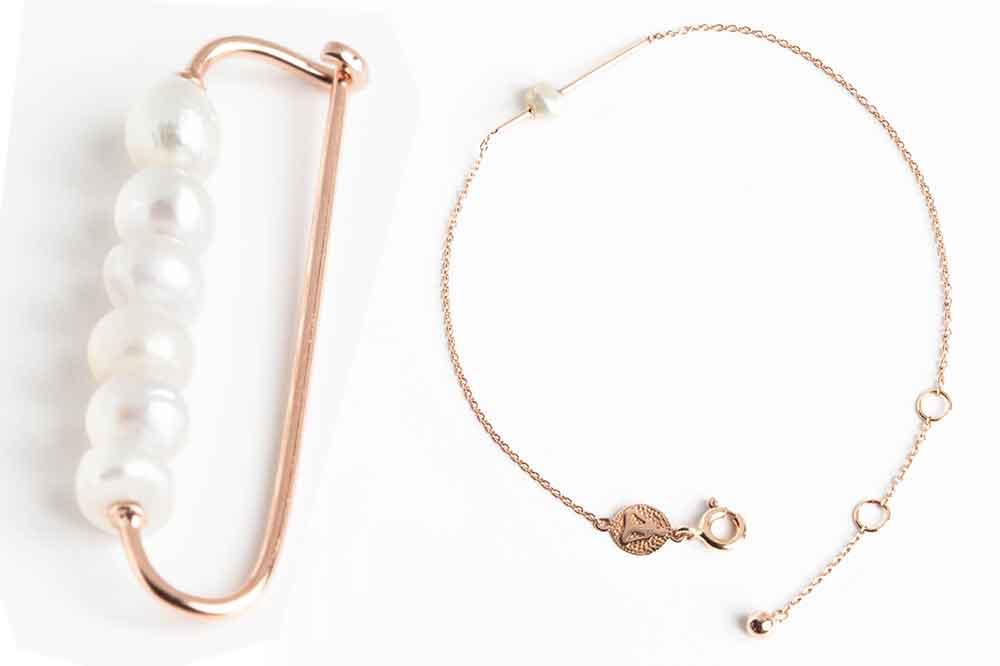 TinyOm Pearls of Eternity, brazalete y broche