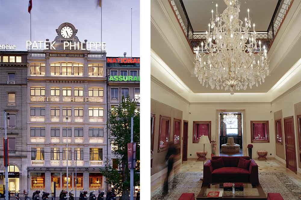 Salón Patek Philippe en Ginebra, fachada e interior