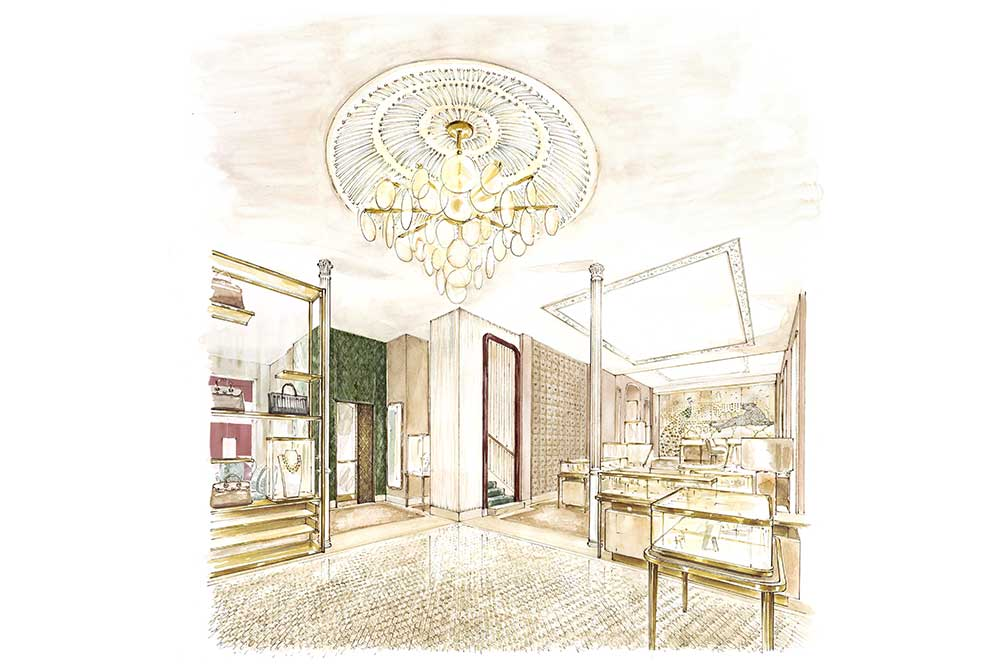 Boutique Cartier Madrid, boceto primera planta