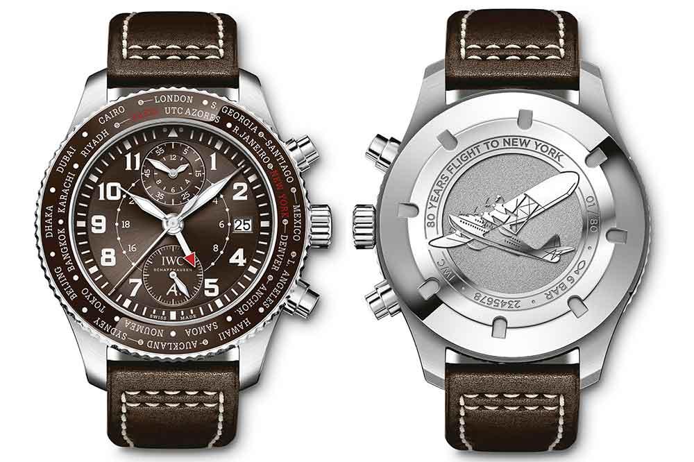"""IWC Reloj de Aviador Timezoner Cronógrafo Edición """"80 Years Flight to New York"""""""