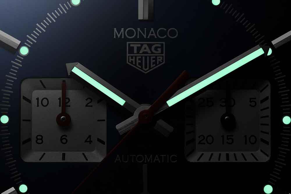 TAG Heuer Monaco Calibre Heuer 02, detalle esfera