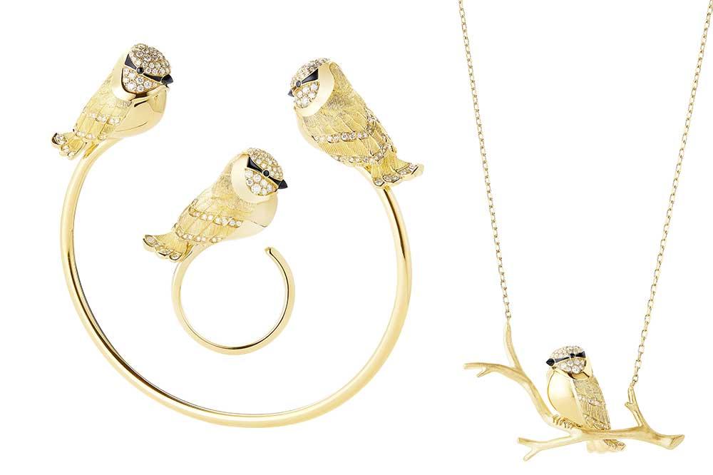 Boucheron Animaux Primavera-Verano 2020, collar, brazalete y anillo con herrerillo