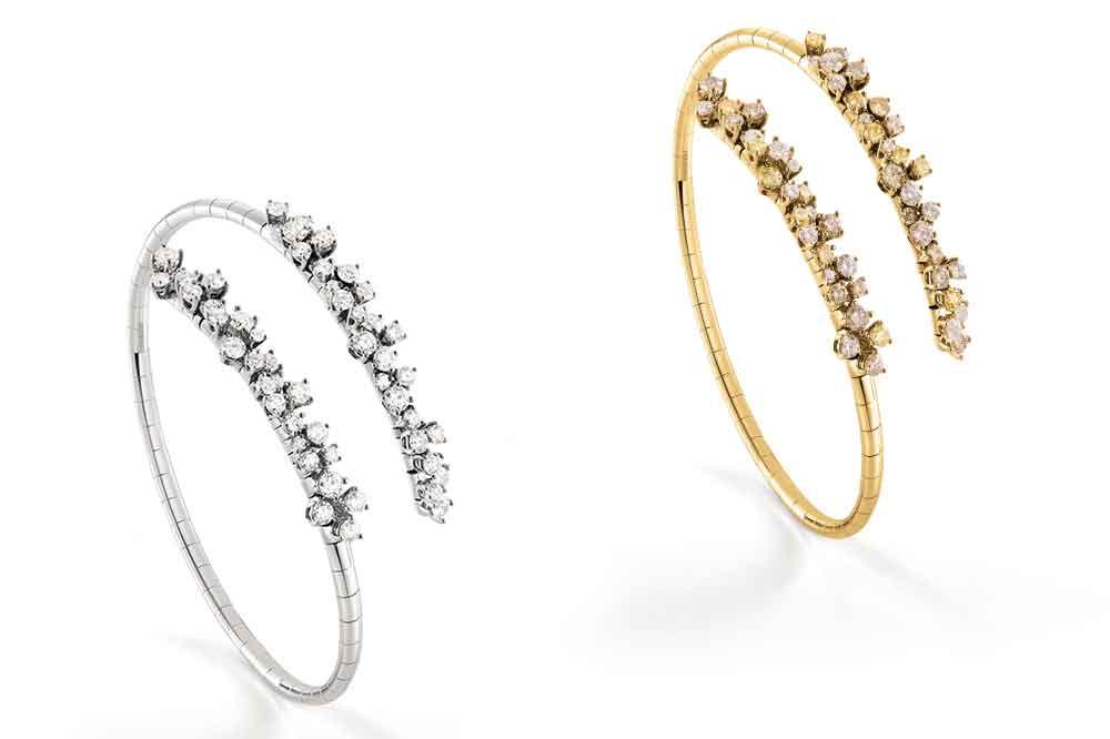 Colección Mimosa de Damiani, brazaletes en oro blanco y oro amarillo con diamantes