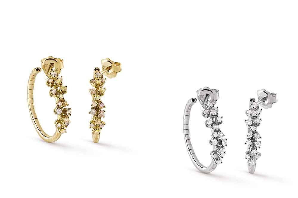 Colección Mimosa de Damiani, pendientes en oro amarillo o blanco con diamantes