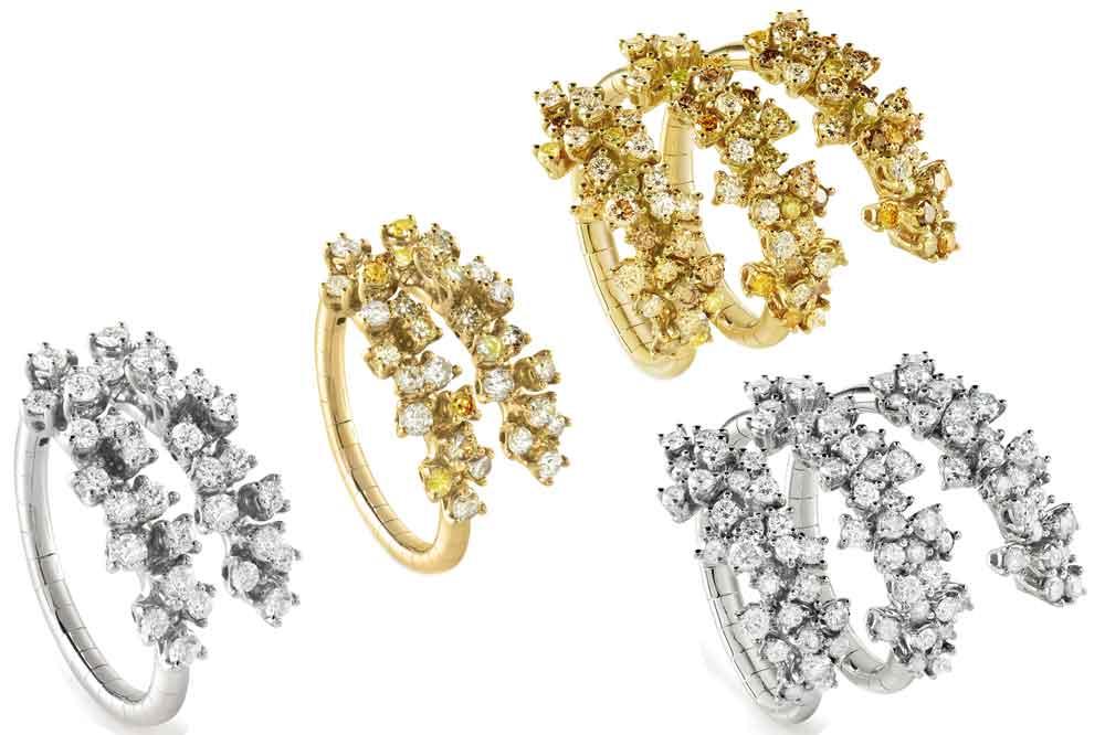 Colección Mimosa de Damiani, anillos en oro blanco o amarillo con diamantes