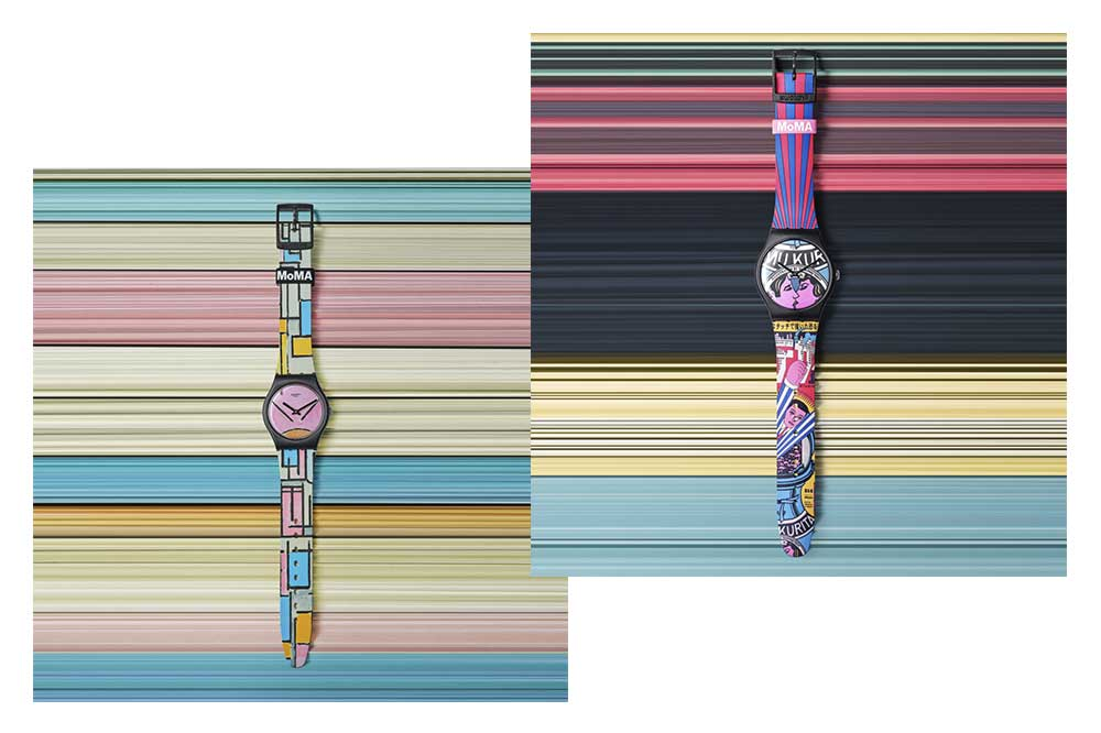 Edición Swatch X MoMA: Composición en Oval with Color Planes 1 (Piet Mondrian) y The City and Design, The Wonders of Life on Earth, Isamu Kurita (Tadanori Yokoo)