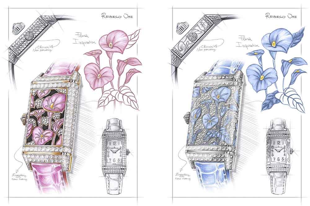 Jaeger-LeCoultre Reverso One Precious Flowers, detalle bocetos